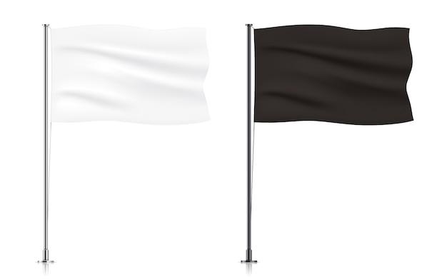 Zestaw biało-czarnych macha szablonów flag.