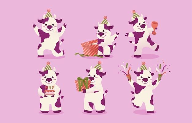 Zestaw biało-fioletowych cętkowanych krów.