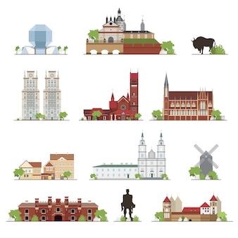 Zestaw białoruskich budynków wiejskich, znanych miejsc w stylu płaskiej. kolekcja ilustracji.