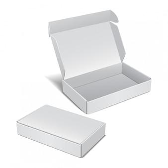Zestaw biały karton realistyczny. pakiet oprogramowania, urządzenia elektronicznego i innych produktów