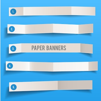 Zestaw biały pusty papier wektor składane banery