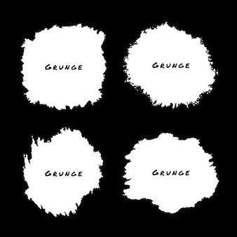 Zestaw białych akwarela grunge splatters