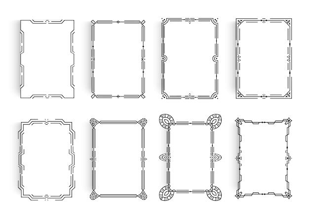 Zestaw białych arkuszy papieru z liniową geometryczną ramą wokół arkusza klasyczny minimalistyczny styl ramki