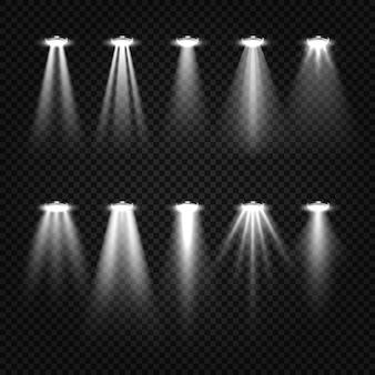 Zestaw białych belek i reflektorów