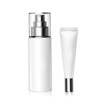 Zestaw białych butelek kosmetycznych