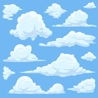 Zestaw białych chmur w błękitne niebo