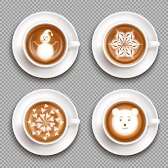 Zestaw białych filiżanek z latte art widok z góry na białym tle