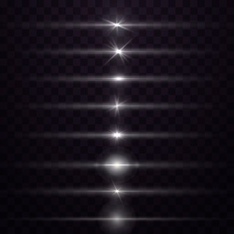 Zestaw białych flar do soczewek poziomych. białe świecące światło wybucha na przezroczystym tle. świetliste abstrakcyjne musujące linie. aby wyśrodkować jasny błysk. jasna gwiazda.