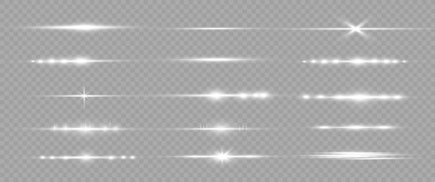 Zestaw białych flar do soczewek poziomych. wiązki laserowe, poziome promienie światła. piękne rozbłyski światła. świecące smugi na jasnym tle. luminous streszczenie musujące tło wyłożone.