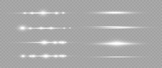 Zestaw białych flar do soczewek poziomych. wiązki laserowe, poziome promienie światła. piękne rozbłyski światła.
