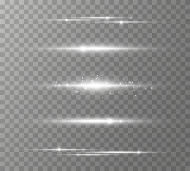 Zestaw białych flar do soczewek poziomych, wiązki laserowe, rozbłysk światła. promienie świetlne blask linii jasny blask na przezroczystym tle świecące smugi. świetliste abstrakcyjne musujące linie. ilustracja