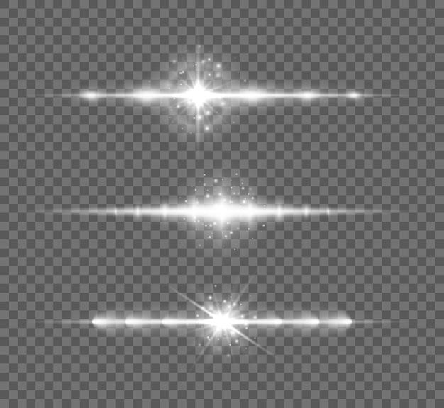 Zestaw białych flar do soczewek poziomych, wiązki laserowe, rozbłysk światła. świecące smugi na przezroczystym tle.