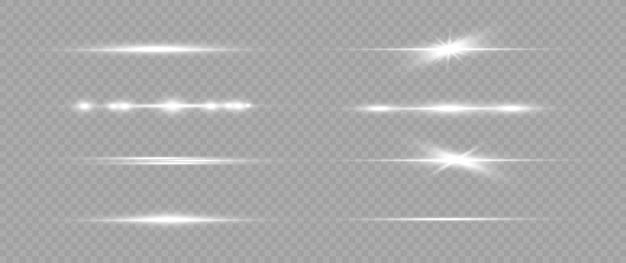Zestaw białych flar poziomych. wiązki laserowe emitują poziome promienie światła
