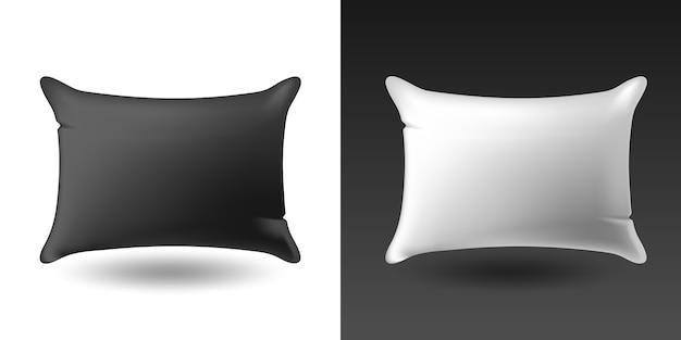 Zestaw białych i czarnych poduszek