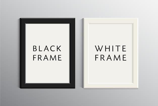 Zestaw białych i czarnych pustych ramek