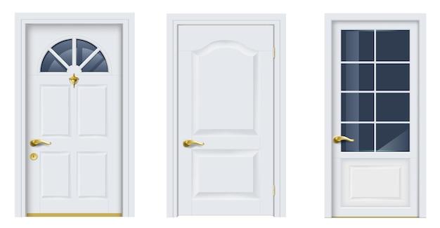 Zestaw białych klasycznych okien i drzwi