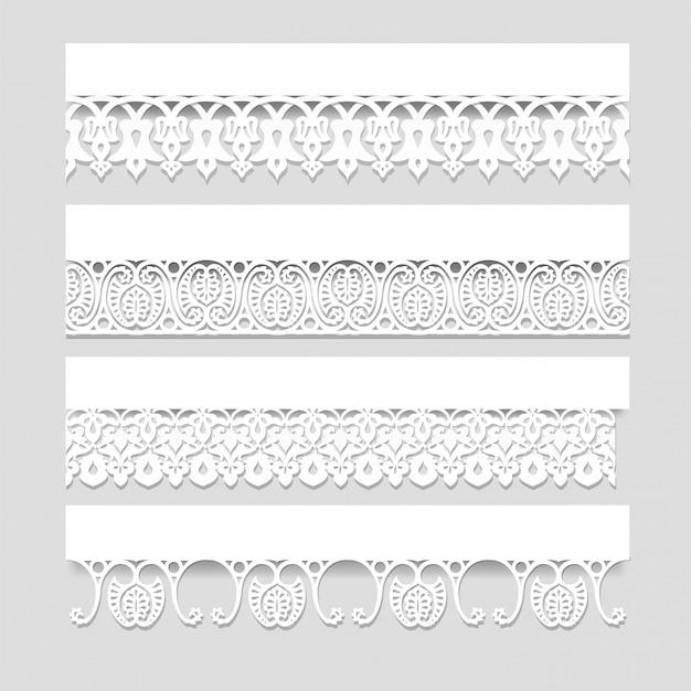 Zestaw białych koronkowych bez szwu granic z cieniami, ozdobne linie papieru, wektor eps10