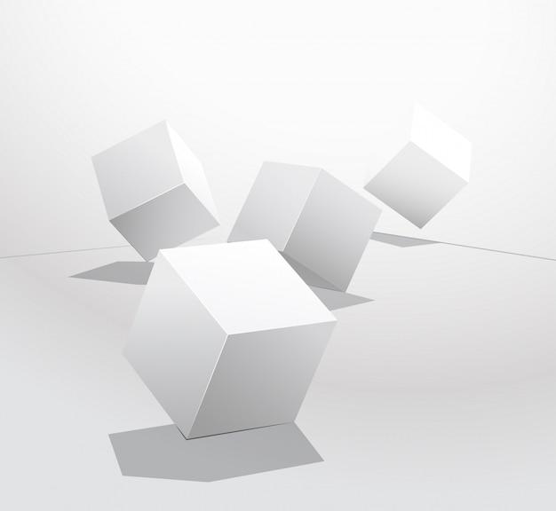 Zestaw białych kostek w różnych rzutach