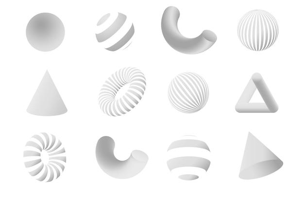 Zestaw białych kształtów geometrii 3d. elementy projektu wektorowego dla mediów społecznościowych i treści wizualnych, projektowanie stron internetowych i interfejsów użytkownika, plakaty i kolaże artystyczne, branding.