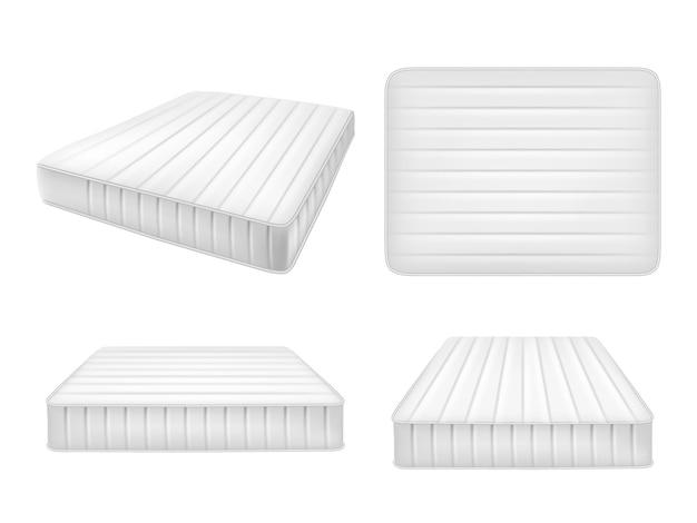 Zestaw białych materacy łóżkowych, realistyczne ilustracje wektorowe