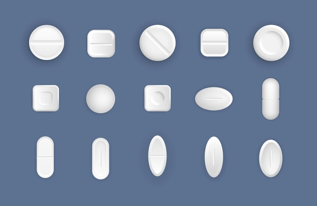Zestaw białych medycznych tabletek. płaskie i wypukłe tabletki w stylu 3d. leki to okrągłe białe leki, aspiryna, antybiotyki, witaminy i środki przeciwbólowe. pojęcie medycyny i opieki zdrowotnej. .