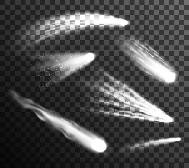 Zestaw białych meteorów i komet