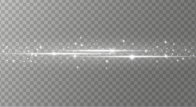 Zestaw białych odblasków do soczewek poziomych, wiązki lasera, rozbłysk światła.