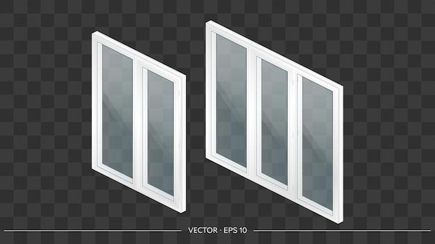 Zestaw białych okien metalowo-plastikowych z przezroczystymi szkłami w 3d. nowoczesne okno w realistycznym stylu. izometria, ilustracji wektorowych.