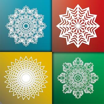 Zestaw białych okrągłych abstrakcyjnych wzorów. okrągły ornament wektor. płatek śniegu. mandala. arabeska. ilustracja wektorowa.