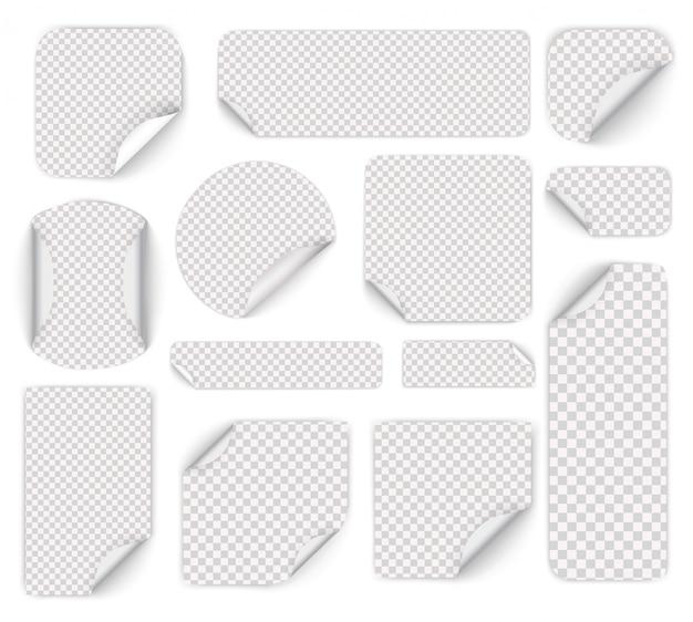 Zestaw białych okrągłych naklejek samoprzylepnych ze złożonymi krawędziami. zestaw białej naklejki papierowej o różnych kształtach z zawiniętymi rogami. puste szablony cen.