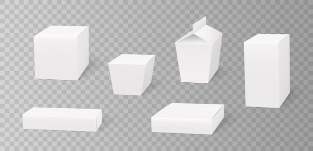 Zestaw białych opakowań kartonowych makiety 3d na białym tle szablon do projektowania marki. opakowania na żywność, upominki, kosmetyki, leki. realistyczna ilustracja wektorowa