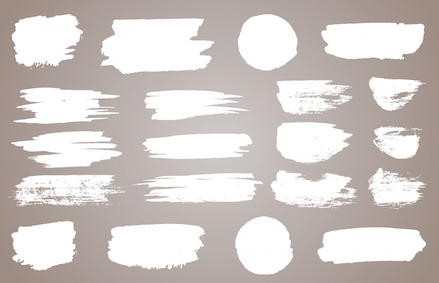 Zestaw białych plam wektorowych atramentu. wektorowa biała farba, atramentu muśnięcia uderzenie