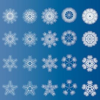 Zestaw białych płatków śniegu