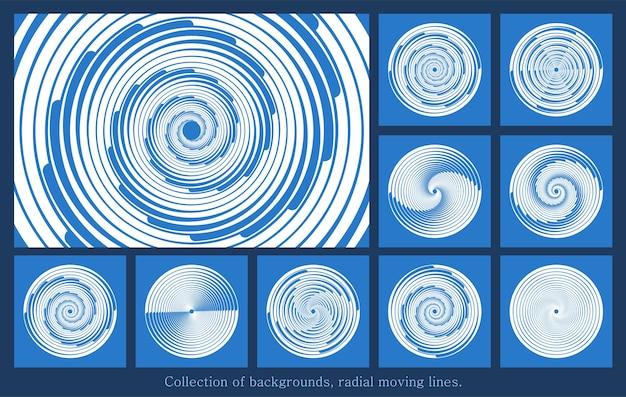 Zestaw białych promieniowych linii prędkości z białych przerywanych krzywych wirujących cienkich grubych linii półtonów