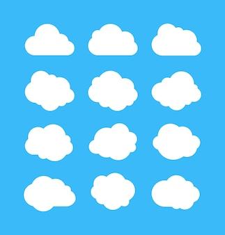 Zestaw białych prostych chmur