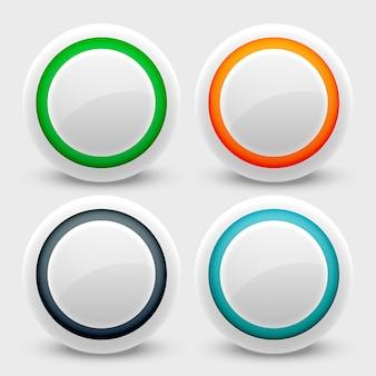 Zestaw białych przycisków interfejsu użytkownika