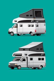 Zestaw białych przyczep kempingowych, podróży mobilnych domów lub przyczep kempingowych na zielonym tle, izolowana płaska ilustracja