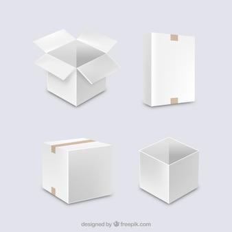 Zestaw białych pudełek do wysyłki w realistycznym stylu