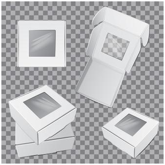 Zestaw białych pudełek kwadratowych z okienkiem.