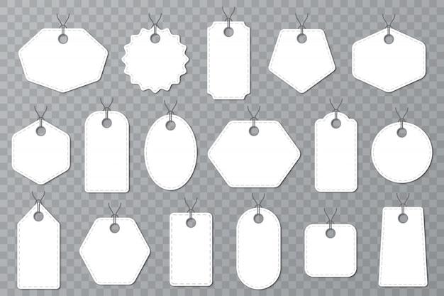 Zestaw białych pustych etykiet. szablon etykiet znaczników