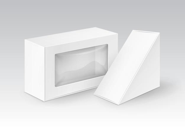 Zestaw białych pustych prostokątnych prostokątnych pudełek kartonowych na wynos opakowania na kanapki, jedzenie, prezent, inne produkty z makietą plastikowego okna z bliska na białym tle
