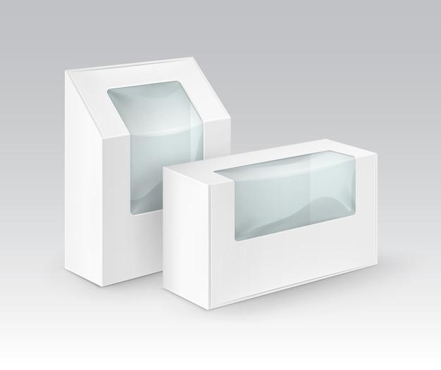 Zestaw białych pustych prostokątnych pudełek kartonowych na wynos opakowania na kanapki, żywność, prezent, inne produkty z makietą z tworzywa sztucznego z bliska na białym tle