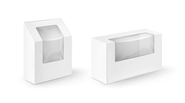 Zestaw białych pustych prostokątnych pudełek kartonowych na wynos opakowania na kanapki, żywność, prezent, inne produkty z makiety z tworzywa sztucznego z bliska na białym tle