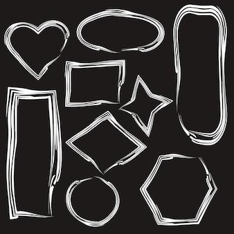 Zestaw białych ramek abstrakcyjnych izolowanych na tle tablicy kolekcja różnych kształtów