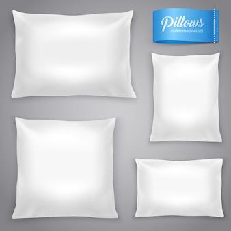Zestaw białych realistycznych poduszek