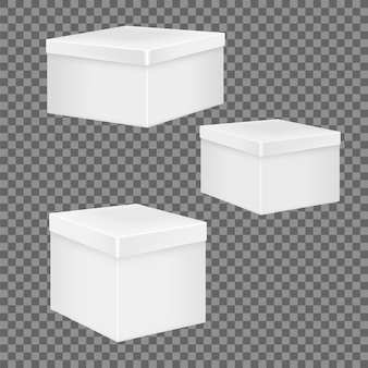 Zestaw białych realistycznych pudełek.
