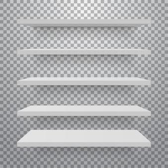 Zestaw białych różnych półek meblowych.