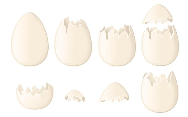 Zestaw białych skorupek jaj całych i pękniętych lub uszkodzonych płaskich ilustracji wektorowych na białym tle
