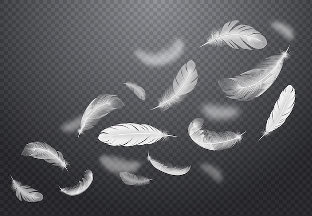 Zestaw białych spadających ptasich piór na ciemnym przezroczystym w realistycznym stylu ilustracji