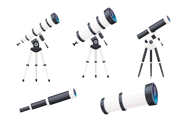 Zestaw białych teleskopów ze stojakami i bez ilustracji wektorowych płaski na białym tle.